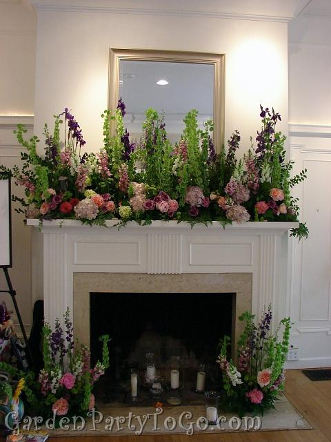 Flowers & Decor, Flowers, Mansion, Mantle, Fireplace, Clise, Gardenpartytogocom