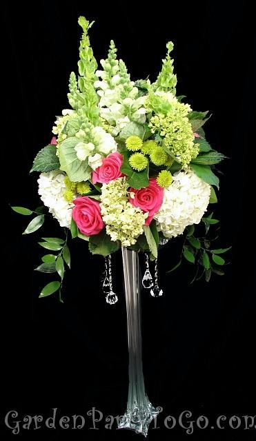 Flowers & Decor, white, pink, green, Centerpieces, Flowers, Centerpiece, Tall, Fuschia, Crystals, Gardenpartytogocom