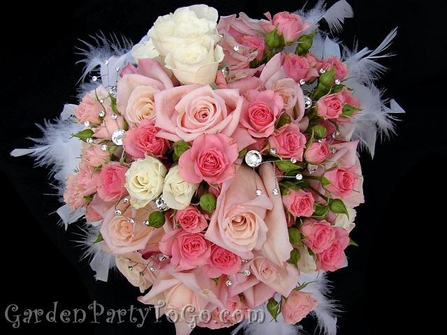 Beauty, Flowers & Decor, white, pink, Feathers, Bride Bouquets, Flowers, Bouquet, Crystals, Gardenpartytogocom