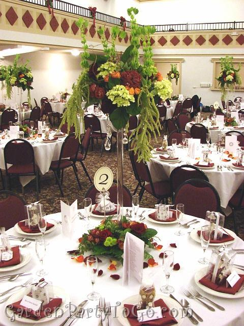 Flowers & Decor, orange, burgundy, green, Centerpieces, Flowers, Centerpiece, Tall, Burnt, Crystals, Gardenpartytogocom