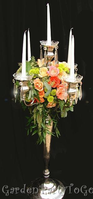Flowers & Decor, orange, pink, green, silver, Centerpieces, Flowers, Centerpiece, Crystal, Candelabra, Crystals, Gardenpartytogocom