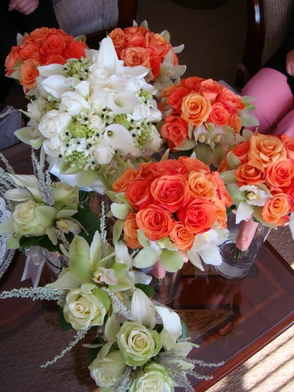 orange, green, Bouquets
