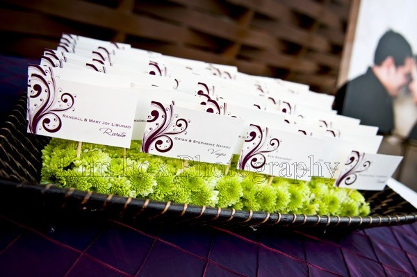 Stationery, purple, Escort Cards, Serendipity design, Plum