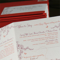 Stationery, orange, red, invitation, Invitations, Butterfly, Blossom, Cherry, Cards de luxe