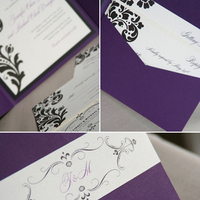 Stationery, white, purple, black, invitation, Invitations, Flourish, Damask, Cards de luxe