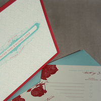 Stationery, red, invitation, Invitations, Rose, Aqua, Cards de luxe