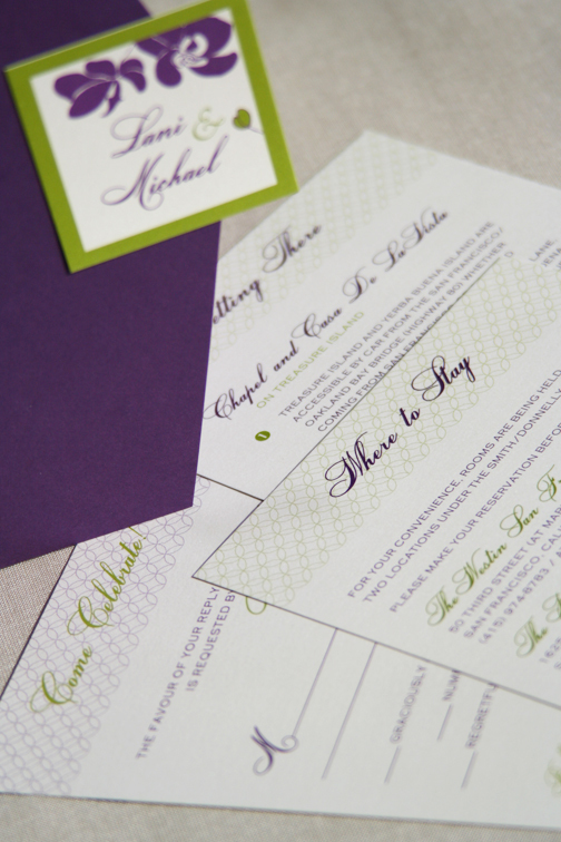 Stationery, purple, invitation, Invitations, Orchid, Chartreuse, Cards de luxe