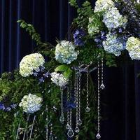 Ceremony, Flowers & Decor, blue, Ceremony Flowers, Flowers, Romantic, Hydrangeas, Bling, Crystals, Arches, Altar, Gardenpartytogocom, Agapanthus