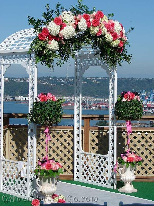 Ceremony, Flowers & Decor, pink, Ceremony Flowers, Flowers, Romantic, Arch, View, Bling, Crystals, Arches, Altar, Gardenpartytogocom