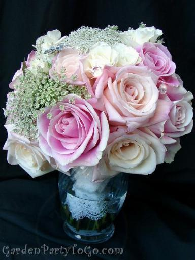 Flowers & Decor, pink, Bride Bouquets, Flowers, Bouquet, Lace, Swarovski, Crystals, Antique, Gardenpartytogocom