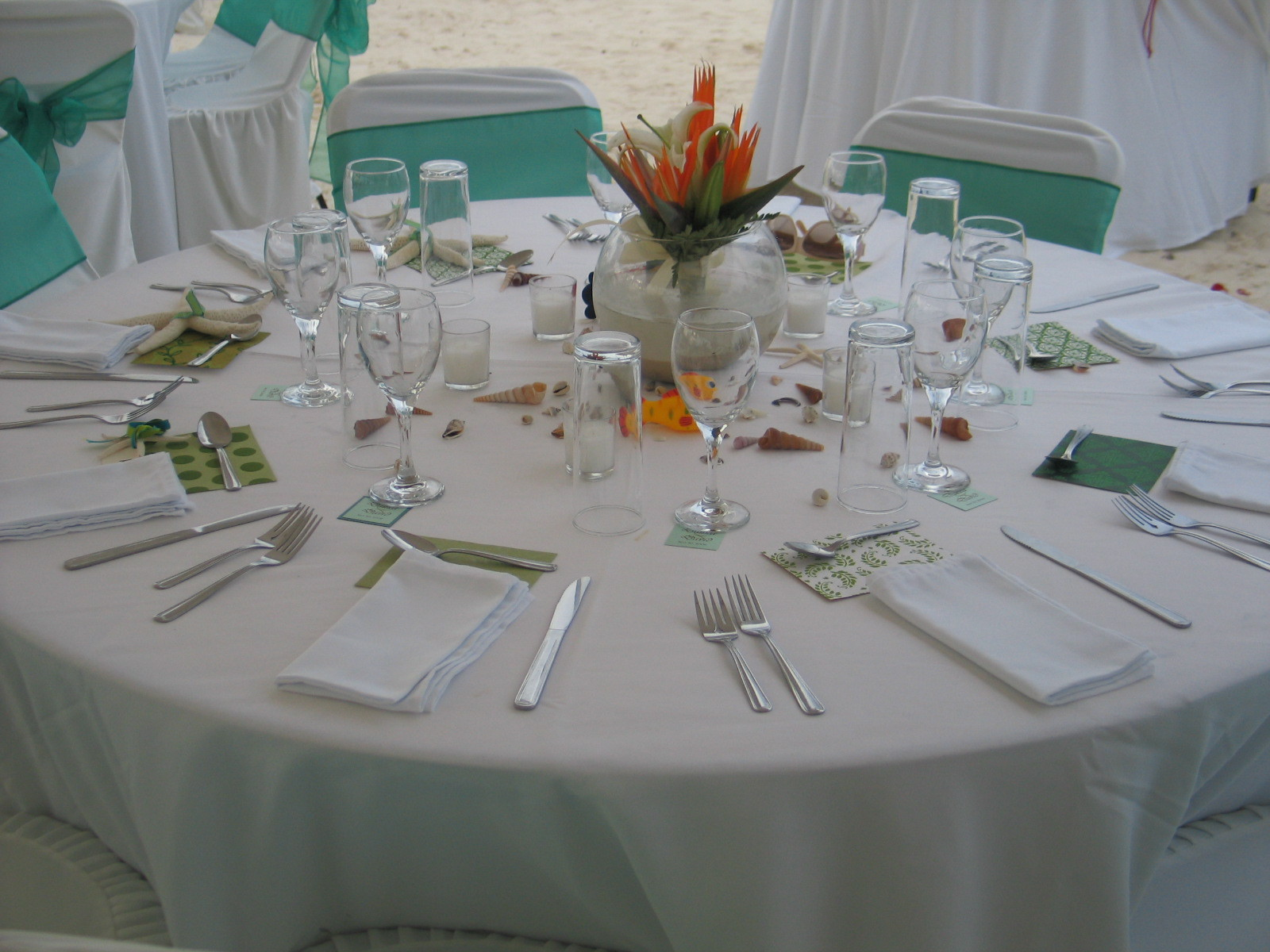 Reception, Flowers & Decor, Tropical, Table, Up, Style, Set, Weddings riviera maya