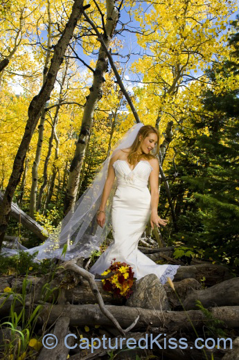 orange, red, Bride, Bouquet, Ring, Forest, Mountains, Autumn, Captured kiss photography, Alvina valenta, Estes park
