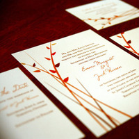 Fall, Wedding invitation, Autumn, Leaves, Modern girl invitations, Modern wedding invitation