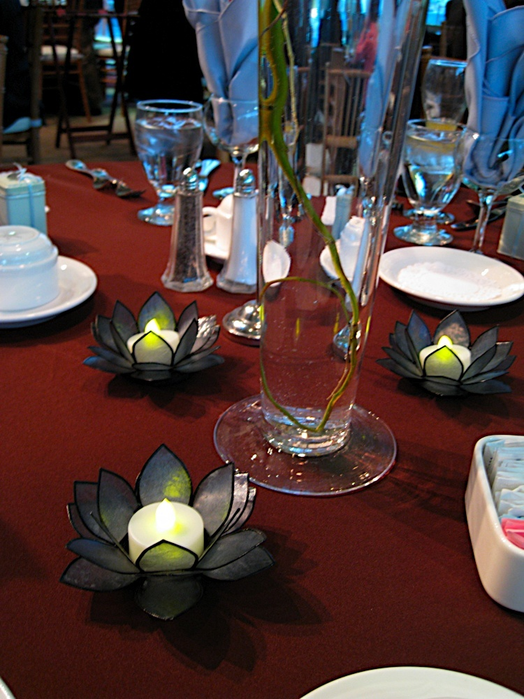 Reception, Flowers & Decor, blue, Centerpieces, Centerpiece, Candle, Votive, Lotus