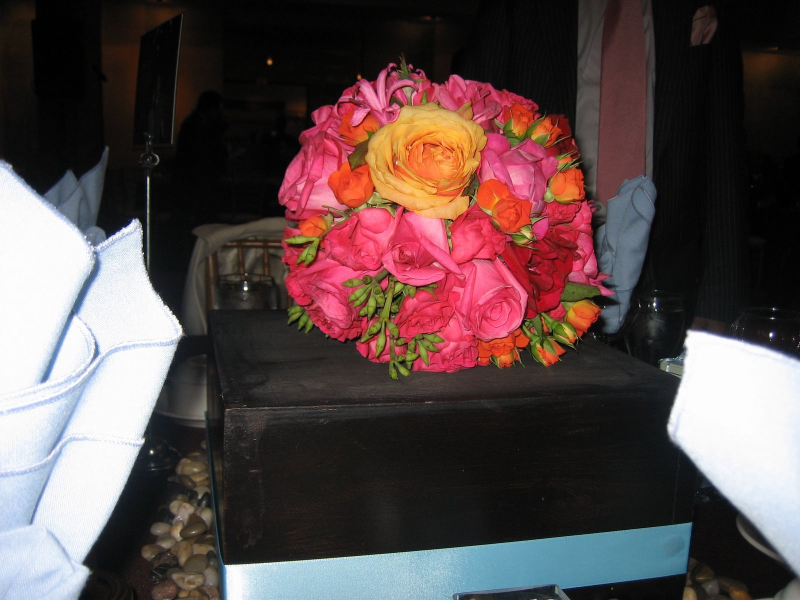 Reception, Flowers & Decor, orange, pink, Flowers, Pomander