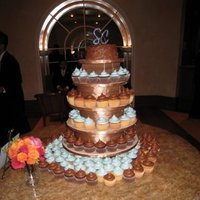 Reception, Flowers & Decor, Cakes, blue, brown, cake, Cupcake, Cupcake tower