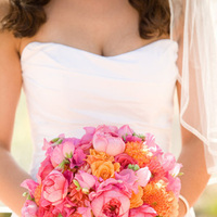 orange, pink, Bride Bouquets, Summer Wedding Flowers & Decor
