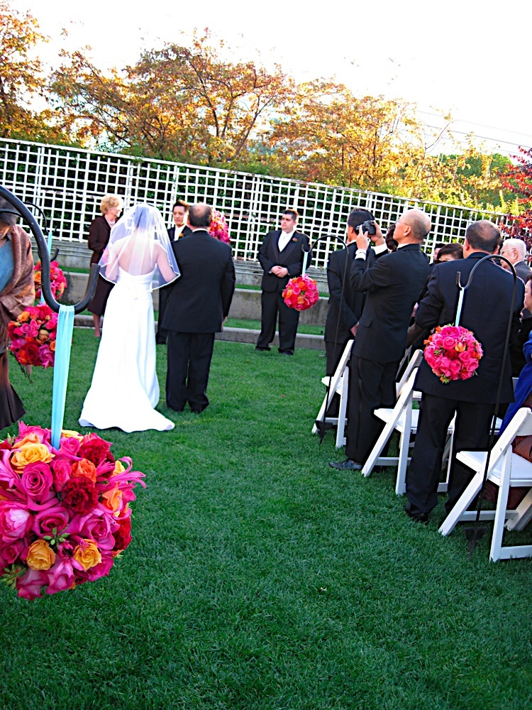 Ceremony, Flowers & Decor, orange, pink, Ceremony Flowers, Outdoor, Flowers, Pacific athletic club