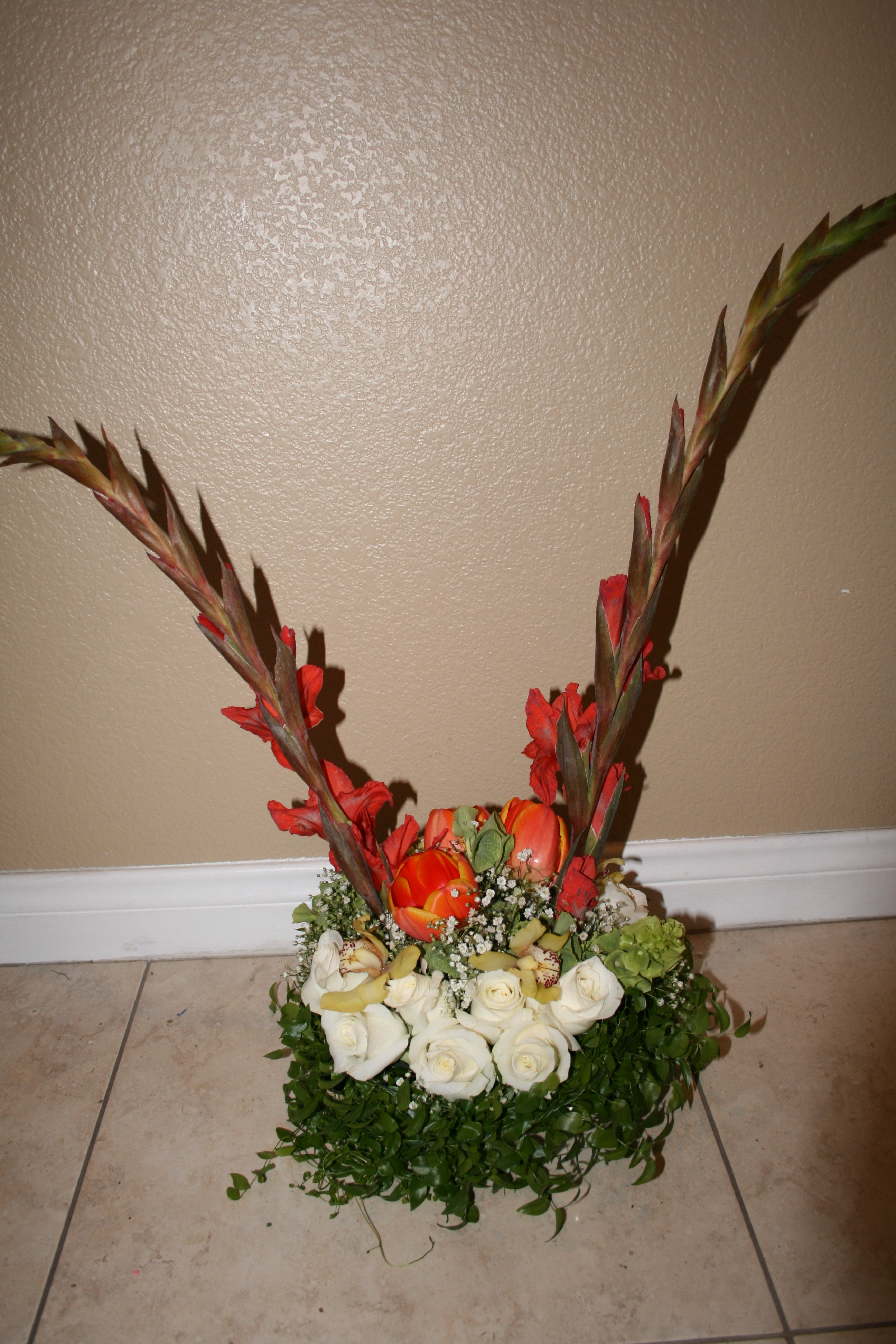 Centerpiece, Orchids, Tall, Cymbidium, Rosey posey floral design, Gladiolus, Smilax