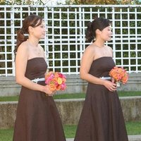 Bridesmaids Dresses, Wedding Dresses, Fashion, orange, pink, blue, brown, dress, Bouquet, Bridesmaid