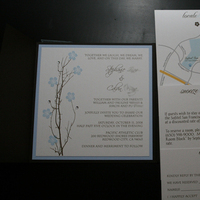 Stationery, blue, brown, Invitations, Cherry blossom, Cherry blossoms