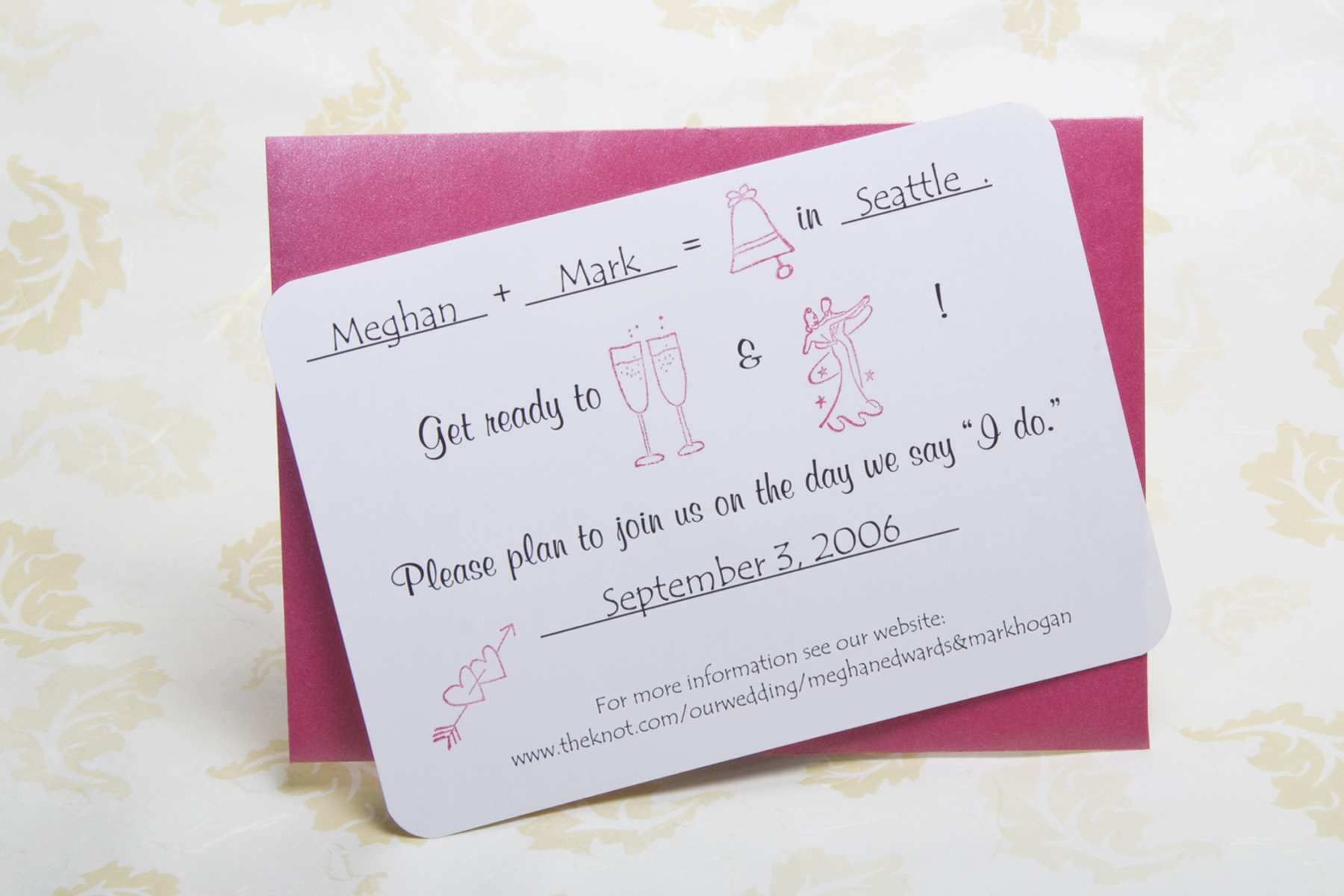 pink, Save the date, Eiffel printing and design, Rebus, Rubber-stamped