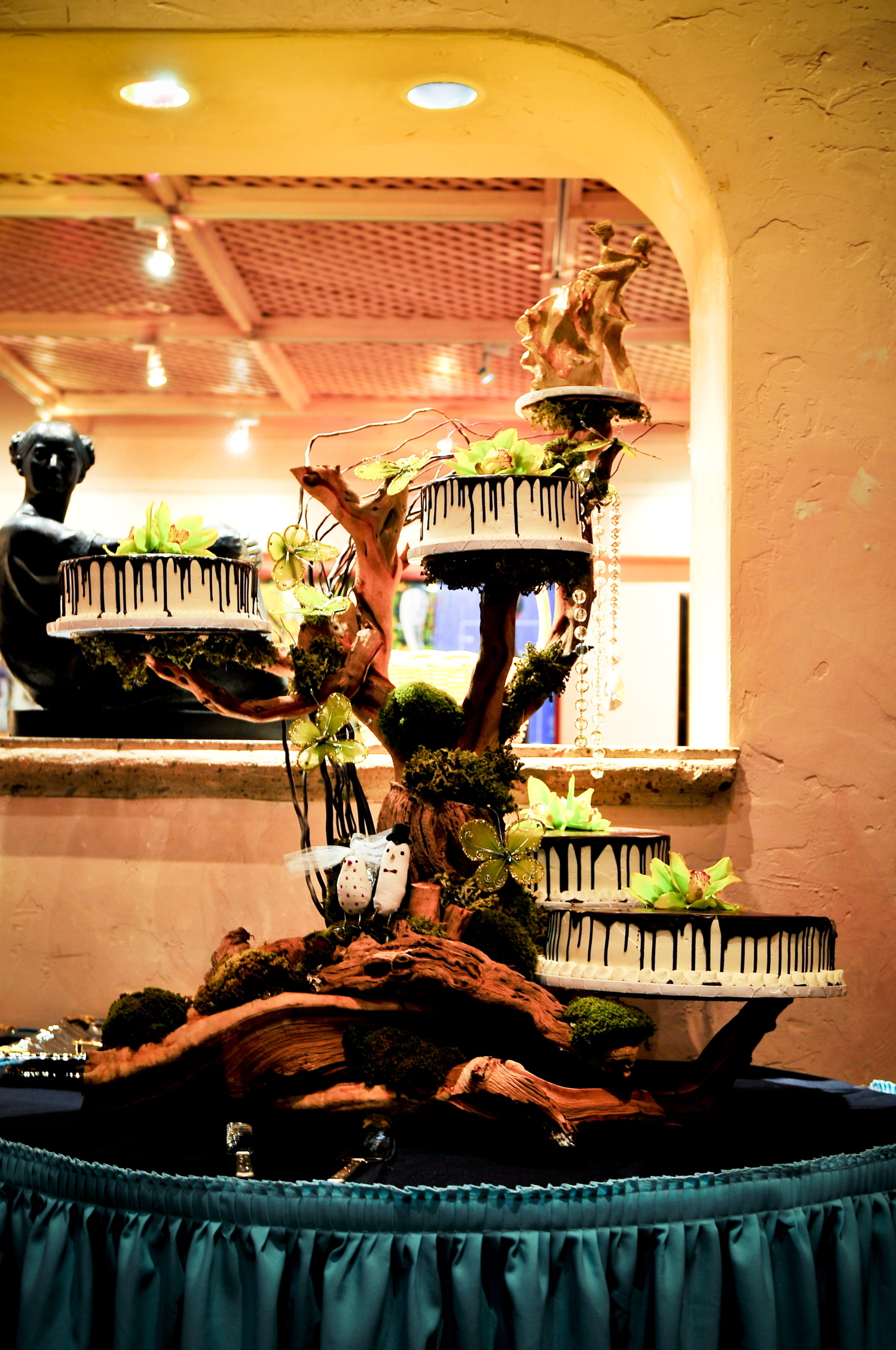 Cakes, green, brown, cake, Branches, Birds, Chocolate, Orchids, Manzanita