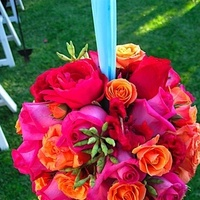 Ceremony, Flowers & Decor, orange, pink, Ceremony Flowers, Flowers, Pomander, Pomanders