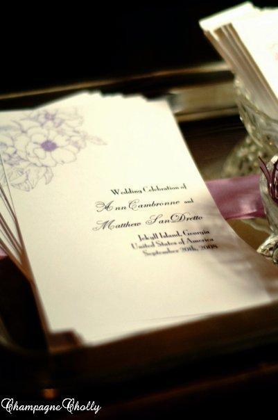 Programs, Champagne wedding