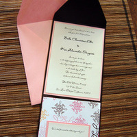 DIY, Stationery, pink, brown, invitation, Invitations, And, Bella kai invitations, Pouch