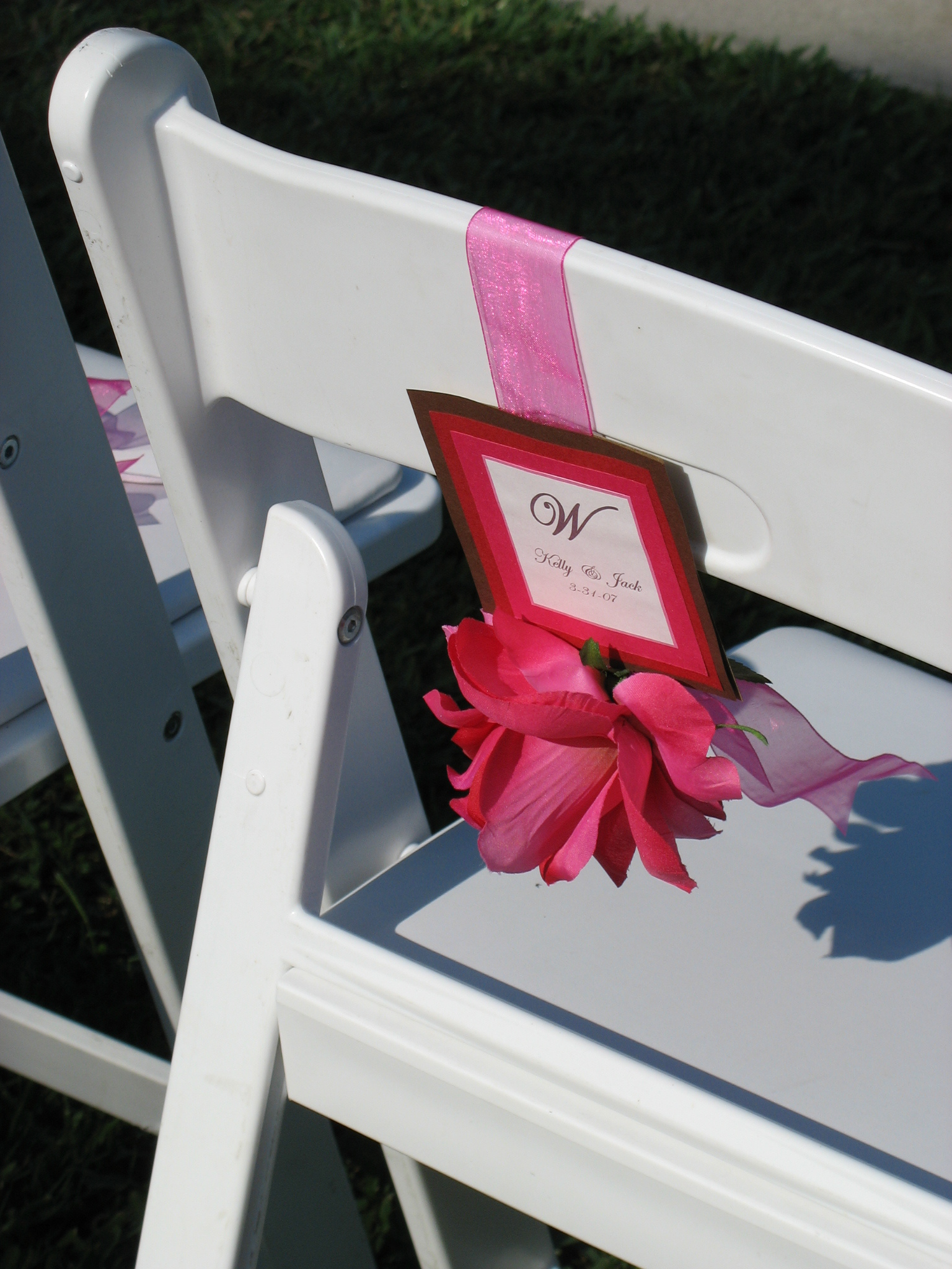 pink, red, Ceremony Decor, Monogram, Ribbon, A flair for affairs - weddings events