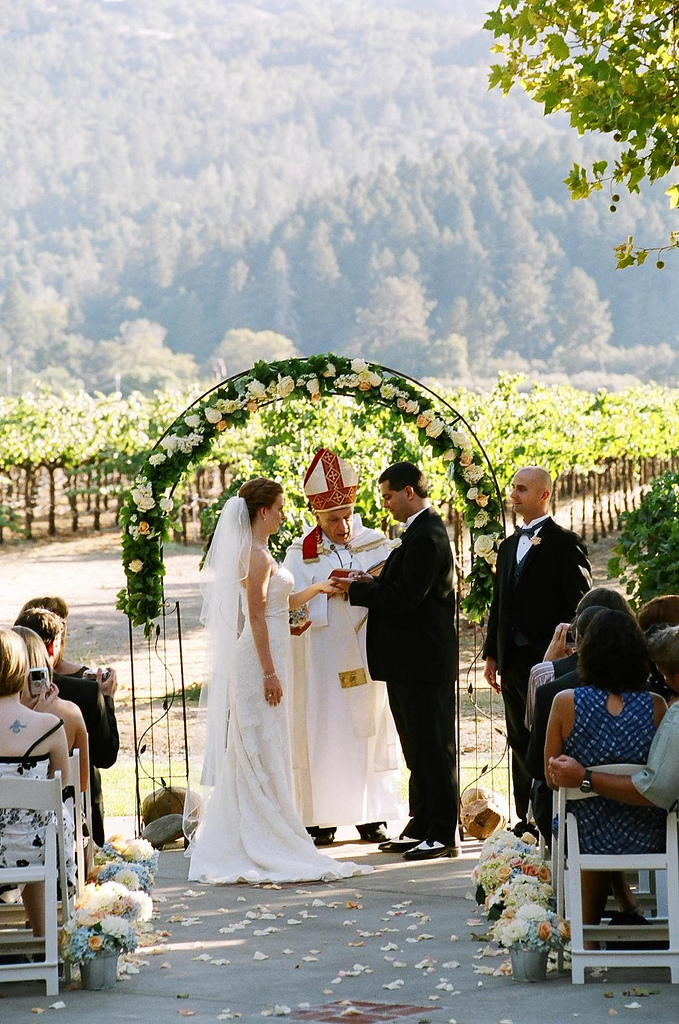 Ceremony, Flowers & Decor, Vineyard, Outdoor, Ring, Exchange