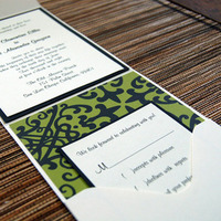 Stationery, white, green, invitation, Invitations, And, Bella kai invitations