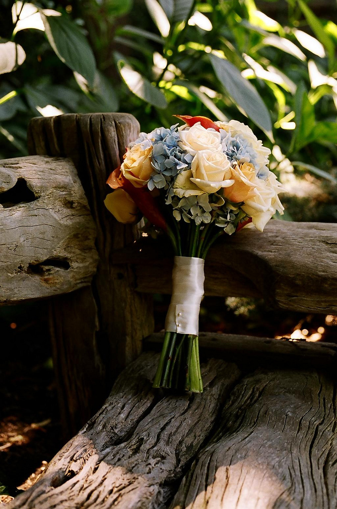 Flowers & Decor, ivory, blue, Flowers, Roses, Peach, Hydrangea