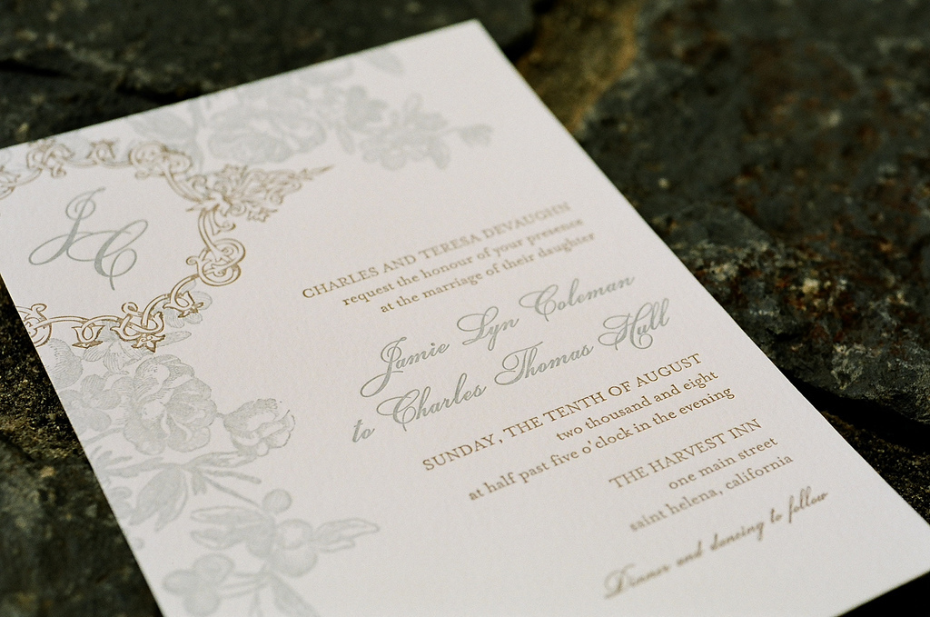 Stationery, ivory, blue, brown, Invitations, Floral