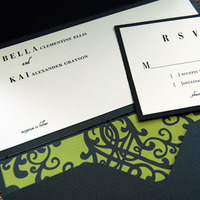 DIY, Stationery, green, black, invitation, Modern, Modern Wedding Invitations, Invitations, And, Pocketfold, Bella kai invitations, Brocade