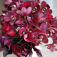 orange, burgundy, Wedding, bridal bouquet, Fred segal, Deep red