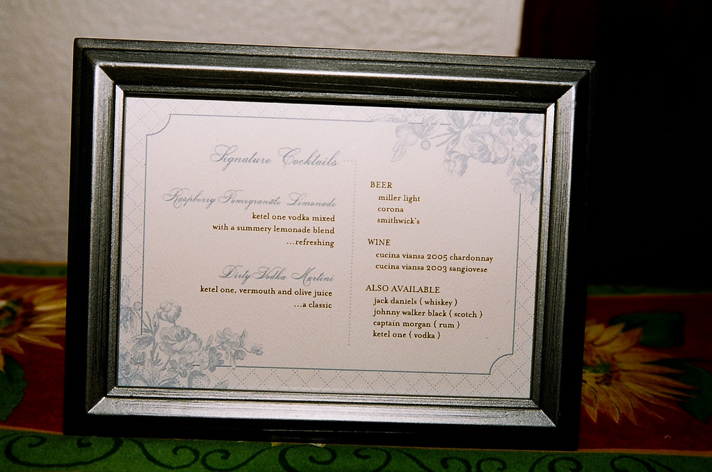 Reception, Flowers & Decor, ivory, blue, brown, Stationary, Drink menu