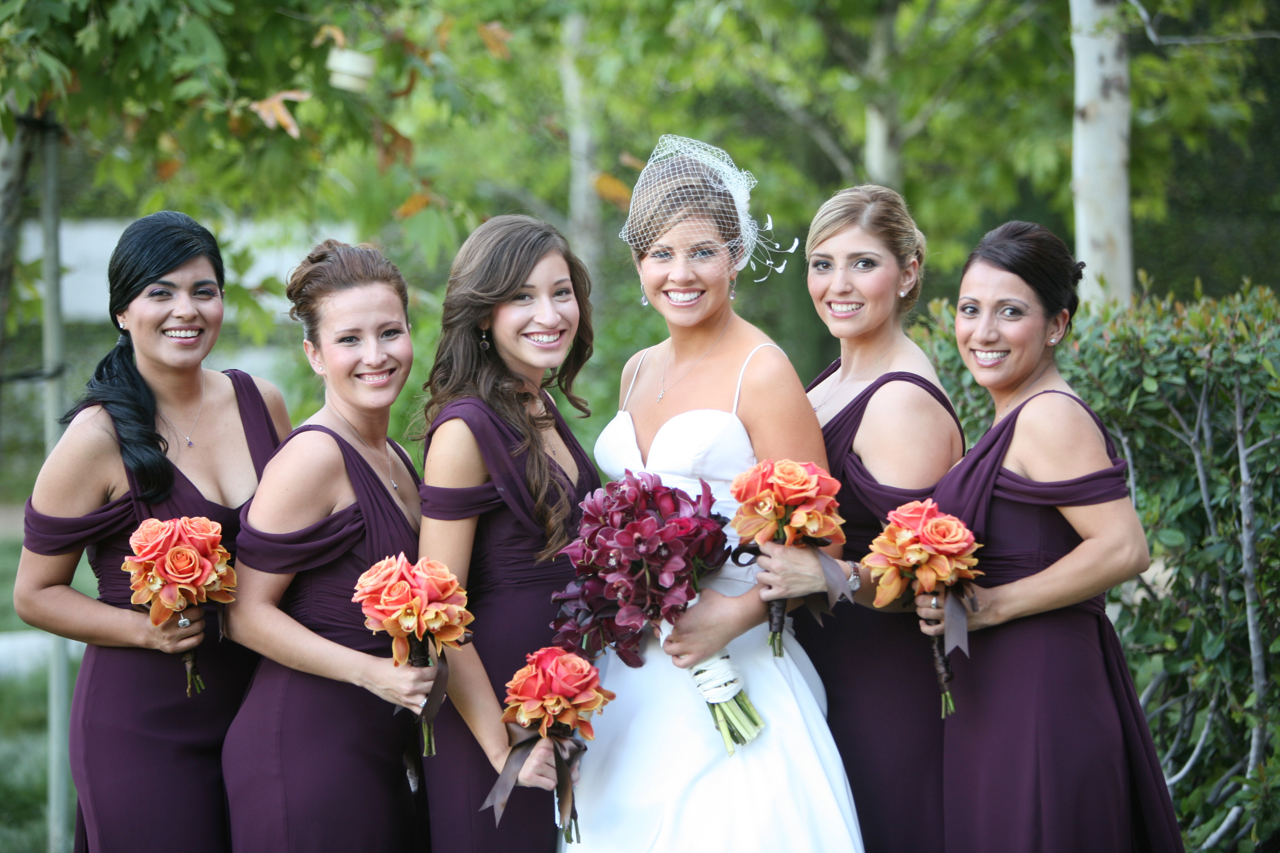 Bridesmaids, Bridesmaids Dresses, Fashion, orange, burgundy, Wedding, Eggplant