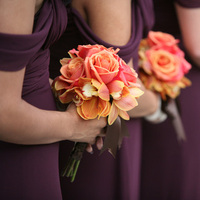 orange, burgundy, Wedding, Bridesmaid, Bouquets
