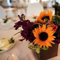 DIY, Centerpiece, Wedding, Colorful, Lakeside, Connecticut, Sunflower