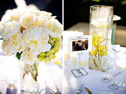 Reception, Flowers & Decor, white, yellow, Centerpieces, Flowers, Roses, Orchids, Peonies, Mokara