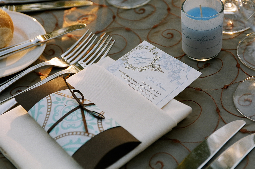 ivory, blue, brown, Menu, Floral, Placecard, Place setting, Pillowbox