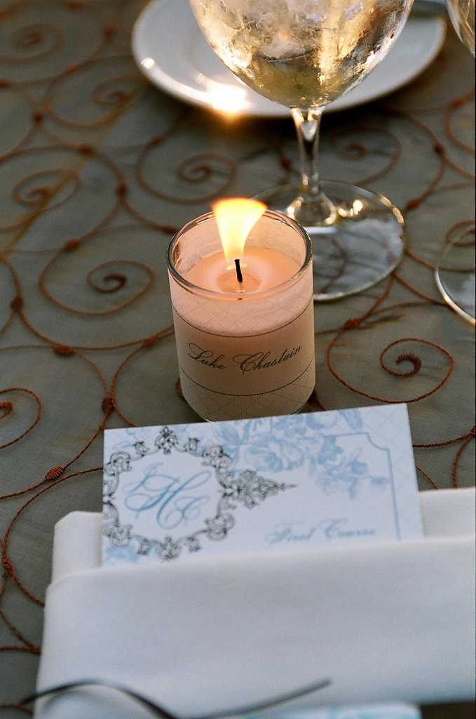 Reception, Flowers & Decor, Stationery, ivory, blue, brown, Place Cards, Menu, Placecards, Votive, Dinner