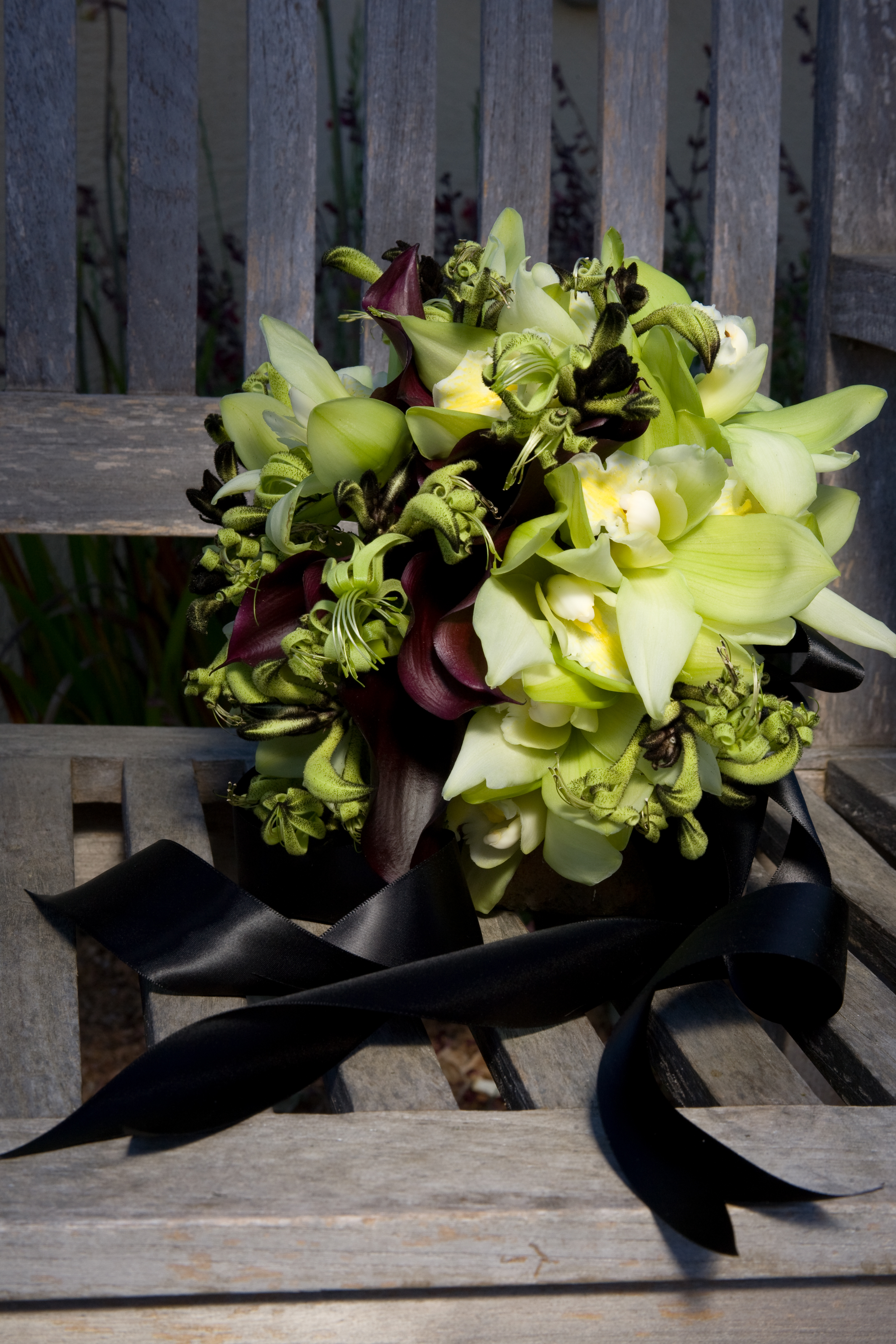 Bridal Bouquet Of Handwired Green Cymbidium Orchids Kangaroo Paw And Dark Purple Calla Lilies