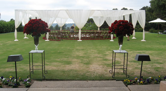 Ceremony, Flowers & Decor, red, Ceremony Flowers, Garden, Flowers, Garden Wedding Flowers & Decor, Tent