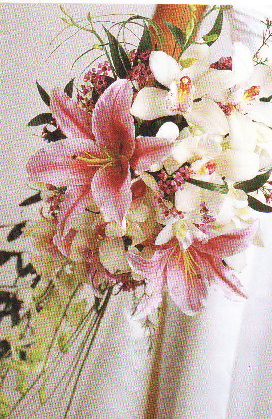 pink, Lilies, Orchids, bridal bouquet, Flowers by fudgie