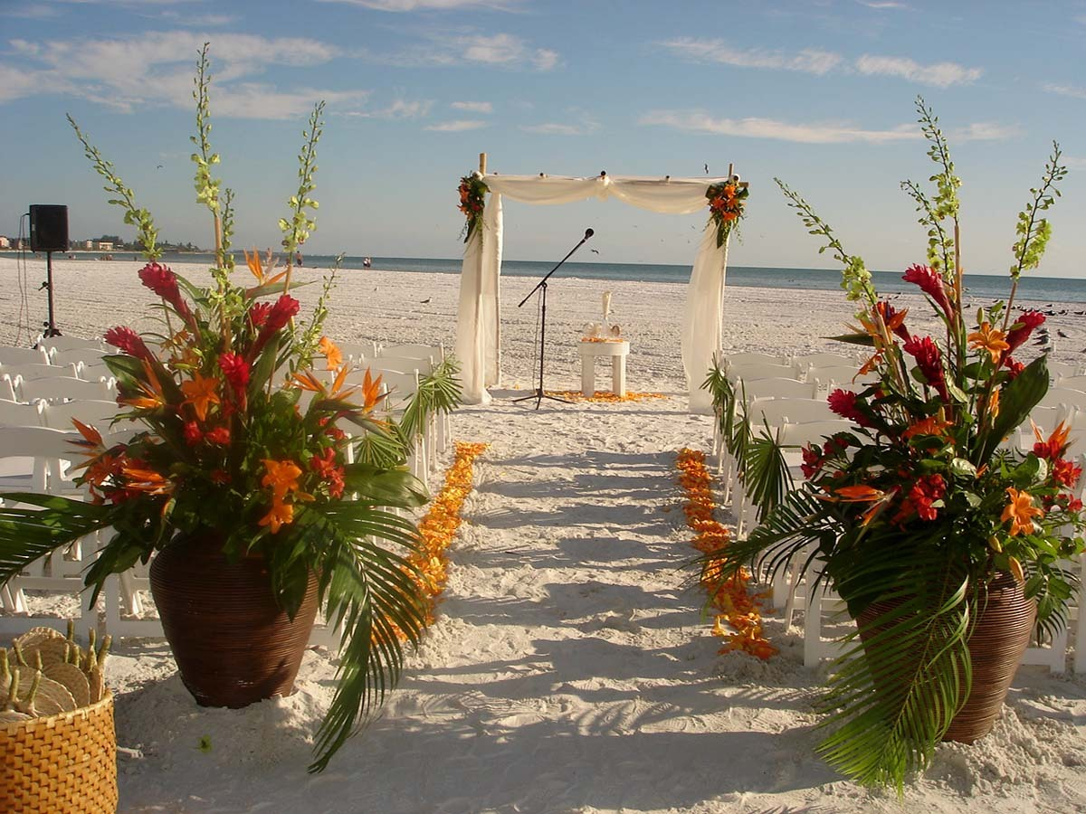 Beach Wedding Ceremony: Beach Set Up With Fabric And Bamboo Canopy And Florals At