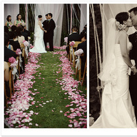Ceremony, Flowers & Decor, white, pink, Wedding, Backyard