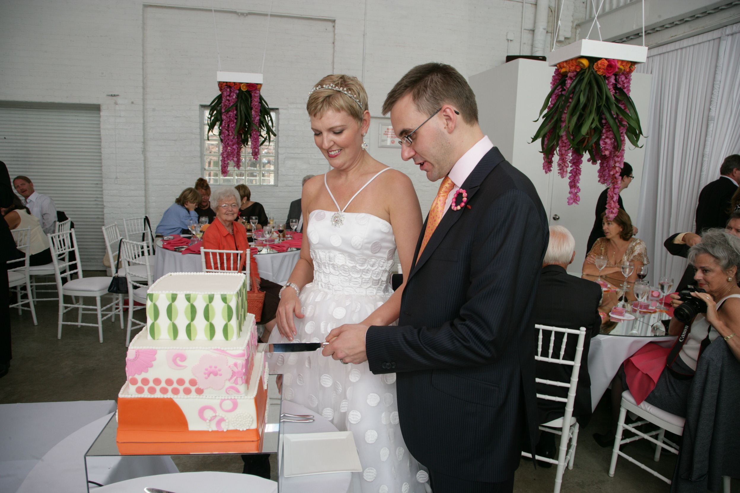 orange, pink, Modern, Wedding